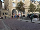 People protesting the closing of the post office